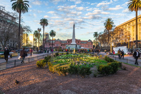 Buenos Aires - June 30, 2017: Gardens of the Casa Rosada in Buenos Aires, Argentina