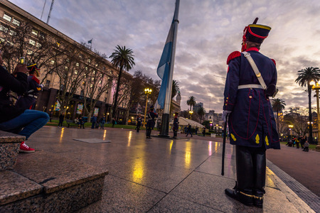 Buenos Aires - June 30, 2017: Changing of the guard at the Casa Rosada building in Buenos Aires, Argentina Sajtókép
