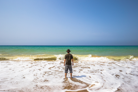 Western traveler by the beach of Oran, Algeria