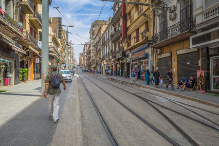 Oran - June 10, 2017: People in the historic center of Oran, Algeria Stok Fotoğraf - 97599018