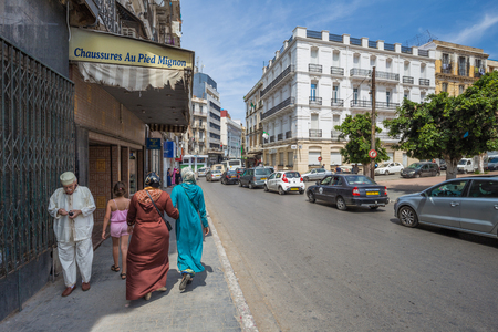 Oran - June 10, 2017: People in the historic center of Oran, Algeria Stok Fotoğraf - 97671677