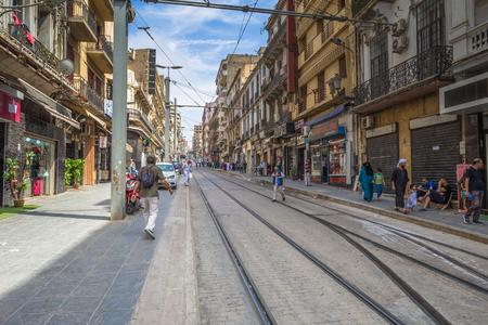Oran - June 10, 2017: People in the historic center of Oran, Algeria Stok Fotoğraf - 97671693