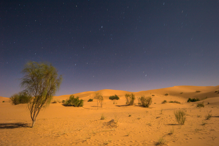 Night sky of the Sahara near the town of Taghit, Algeria Stock Photo
