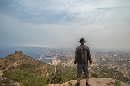 Western travelers overlooking the city of Oran, Algeria Stok Fotoğraf - 97686452