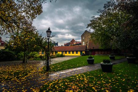 Ystad: Gardens of the historic center of the town of Ystad in Skane, Sweden