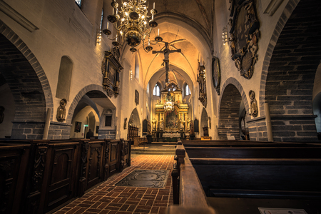 Ystad - October 22, 2017: Interior of Saint Mary's Church at the historic center of the town of Ystad in Skane, Sweden