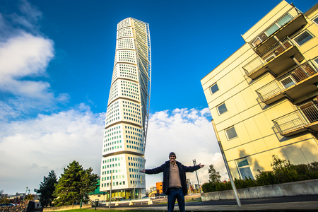 Malmo - October 22, 2017: The modern Turning Torso building in Malmo, Sweden