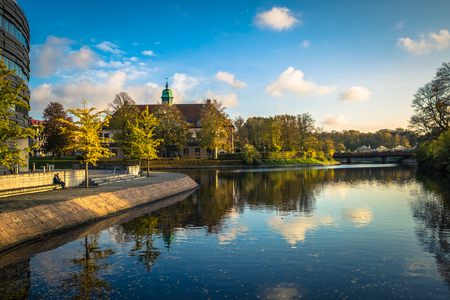 Malmo - October 22, 2017: Canals in the Historic center of Malmo, Sweden Editorial