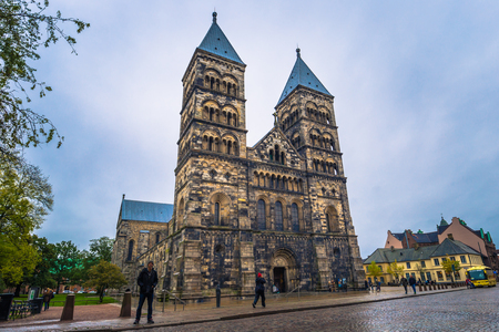 Lund - October 21, 2017: The gothic cathedral of Lund, Sweden