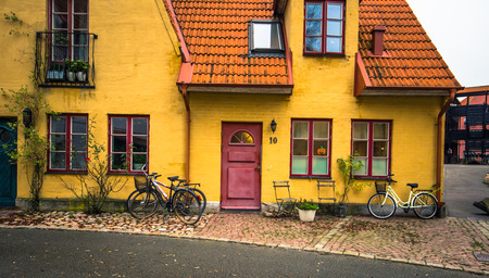 Hjarup - October 21, 2017: Traditional Swedish house in the town of Hjarup, Sweden
