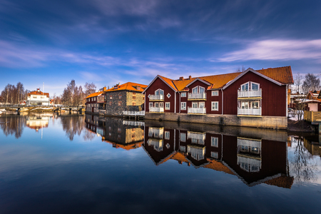 The picturesque wooden houses in the center of the town of Falun in Dalarna, Sweden Stock fotó - 99239280