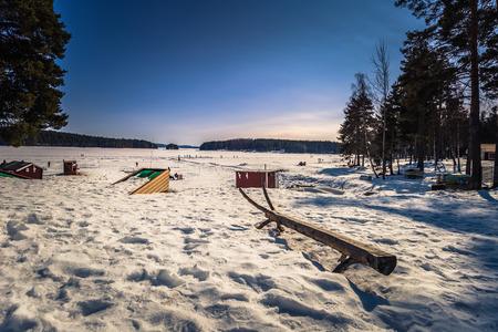 Falun - March 30, 2018: Resort of Framby Udde near the town of Falun in Dalarna, Sweden Editorial