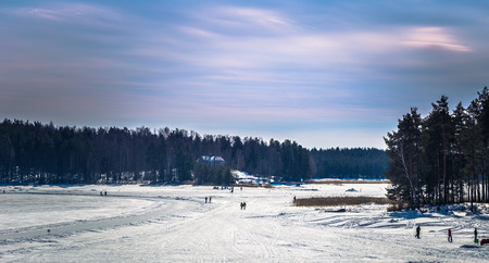 Falun - March 30, 2018: Resort of Framby Udde near the town of Falun in Dalarna, Sweden Editorial