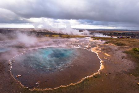 Hot thermal water pool in the Geysir park, Iceland