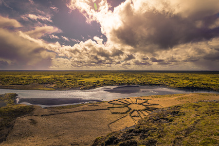 Panorama of the wild landscape of Fjadrargljufur, Iceland