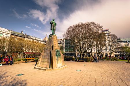 Reykjavik - May 02, 2018: A bronze statue in the center of Reykjavik, Iceland