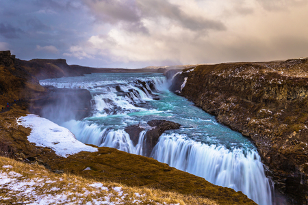 Gulfoss watefall in the Golden Circle of Iceland Stok Fotoğraf