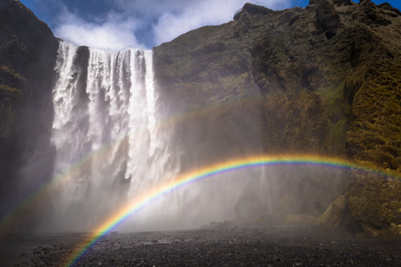 Rainbows at the Skogafoss waterfall, Iceland