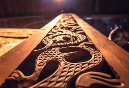 Borg - June 15, 2018: Detail of a Viking decoration Inside the Longhouse in the Lofotr Viking Museum at the town of Borg in the Lofoten Islands, Norway