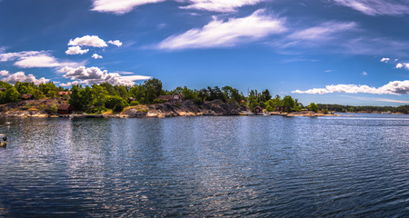Panoramic view of some islands of the Swedish Archipelago during Midsummer, Sweden Imagens