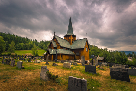 Hedalen - July 28, 2018: The Wonderful Hedalen Stave Church, Norway Editorial
