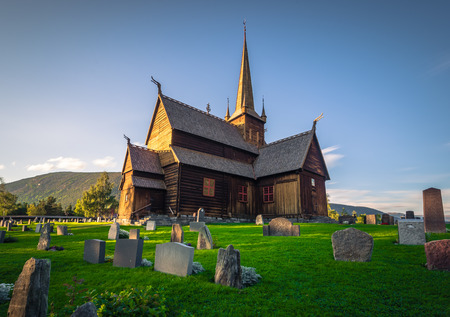 Lom - July 29, 2018: The Stave Church of Lom, Norway Sajtókép