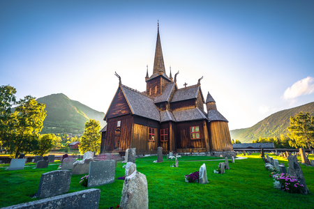 Lom - July 29, 2018: The Stave Church of Lom, Norway