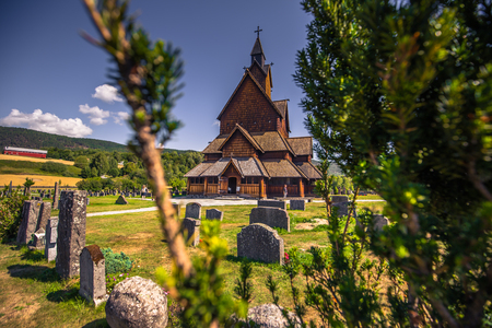 Heddal - August 01, 2018: Medieval Heddal stave church, the largest of the remaining stave churches in Telemark, Norway
