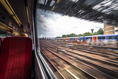 London - August 07, 2018: A traveling train in London, England