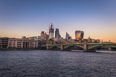 London - August 05, 2018: The financial center of London by the river Thames in London, England Stok Fotoğraf
