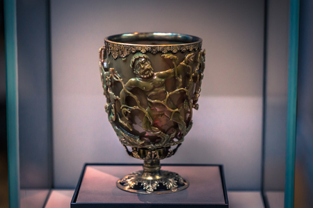 London - August 06, 2018: Ancient ivory cup in the Brtitish Museum in London, England Redakční