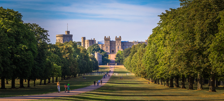 Windsor - August 04, 2018: Frontal view of the castle of Windsor, England