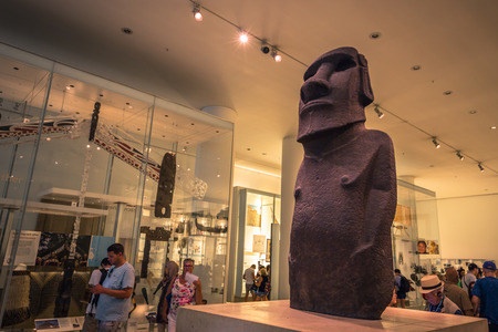London - August 06, 2018: A Moai Statue from Easter Island in the Brtitish Museum in London, England