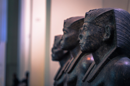 London - August 06, 2018: Ancient Egyptian statue in the Brtitish Museum in London, England Redakční