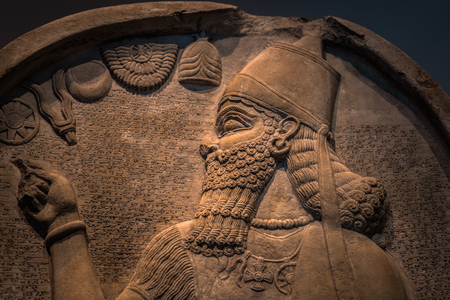 London - August 06, 2018: Assyrian art in the Brtitish Museum in London, England