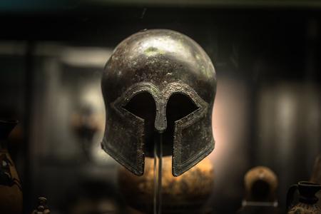 London - August 06, 2018: Ancient Greek helmet in the Brtitish Museum in London, England