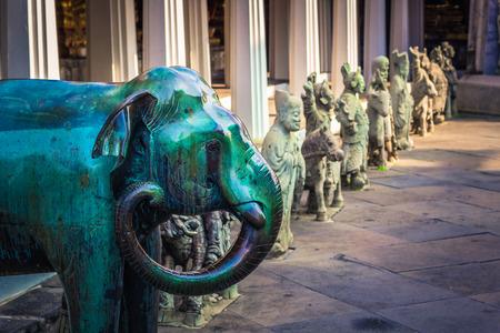 Bangkok - October 14, 2014: Statue of an elephant in Wat Arun, the Temple of Dawn, in Bangkok, Thailand