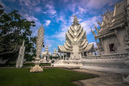 Chiang Rai - October 18, 2014: White temple of Wat Rong Khun in Chiang Rai, Thailand Editorial