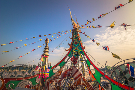 Golden Triangle - October 18, 2014: Buddhist complex in the Golden triangle that separates Laos, Myanmar and Thailand Editorial