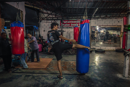 Chiang Mai - October 17, 2014: Muay Thai gym in Chiang Mai, Thailand Editoriali