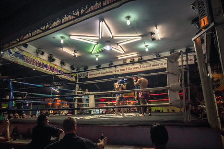 Chiang Mai - October 17, 2014: Fighters competing in a Muay Thai event in Chiang Mai, Thailand