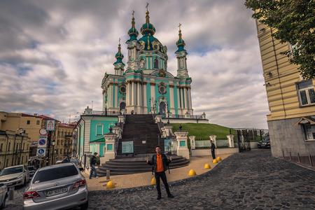 Kiev - September 28, 2018: Saint Andrews orthodox church in Kiev, Ukraine