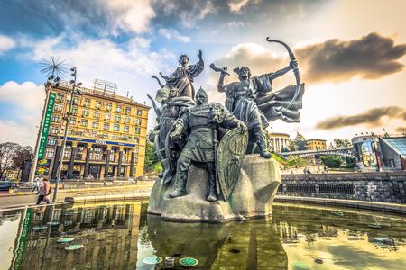 Kiev - September 28, 2018: Medieval statue in the Independence Square, Kiev, Ukraine