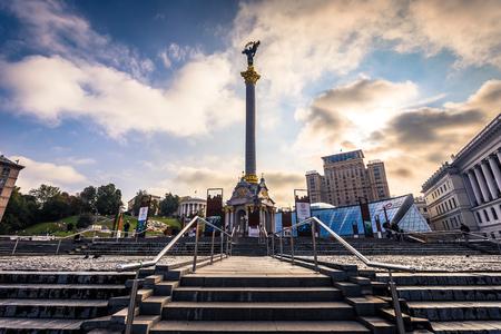 Kiev - September 28, 2018: Obelisk in the Independence Square of Kiev, Ukraine
