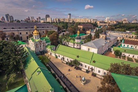 Kiev - September 28, 2018: Panoramic view of the Orthodox Pechersk Lavra monastery in Kiev, Ukraine
