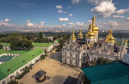 Kiev - September 28, 2018: Panoramic view of the Orthodox Pechersk Lavra monastery in Kiev, Ukraine