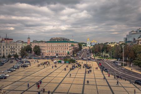 Kiev - September 28, 2018: Panorama of Kiev seen from a window in the tower of Saint Sophia Orthodox monastery in Kiev, Ukraine Editorial