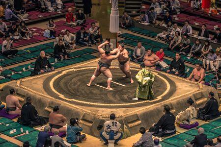 Tokyo - May 19, 2019: Sumo wrestling match in the Ryogoku arena, Tokyo, Japan Editoriali