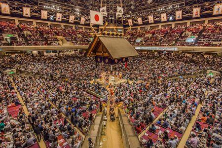 Tokyo - May 19, 2019: Sumo wrestling match in the Ryogoku arena, Tokyo, Japan