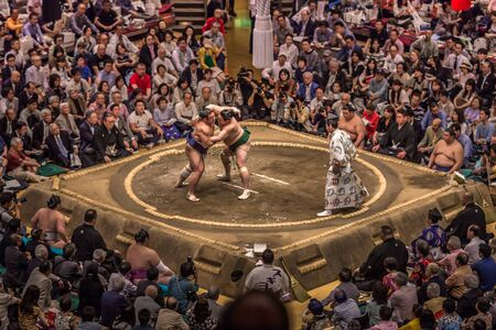 Tokyo - May 19, 2019: Sumo wrestling match in the Ryogoku arena, Tokyo, Japan Editoriali